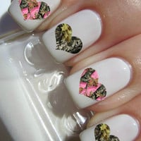 Camouflage Heart nail decals