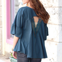 Triangular Lace Cut Out Back Blouse {Ash Teal}