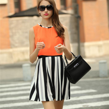 Orange Sleeveless Stripes A-Line Pleated Mini Dress