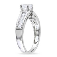 6.0mm Lab-Created White Sapphire Engagement Ring in Sterling Silver