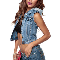 In The Hood Denim Vest