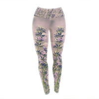 "Robin Dickinson ""Smell the Flowers"" Lavender Green Yoga Leggings"