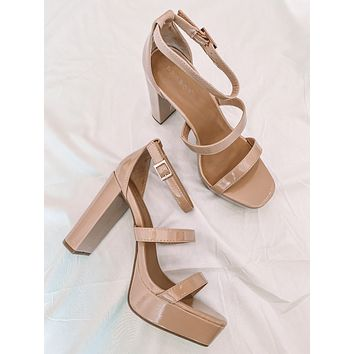 Indie Square Toe Heels (Shiny Nude)