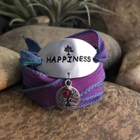 Happiness purple wrap bracelet - Great gifts for yoga enthusiasts or loved one - Christmas surprise stocking stuffer