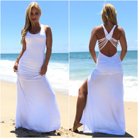 Shainnon Maxi Dress In White By SKY
