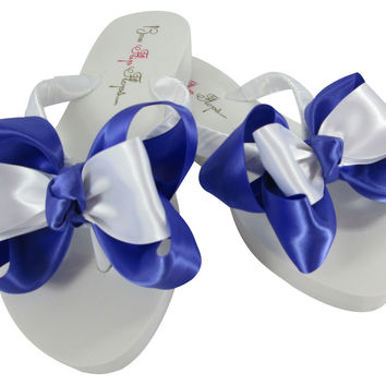 Periwinkle White Low Wedge 1.25 inch Bride & Bridesmaid Bow Flip Flops with low wedge or high inch