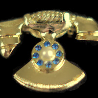 Retro Rotary Telephone Vintage Brooch Costume Jewelry, Just In