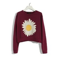 ZLYC Women's Sunflower Print Casual Sweatshirt