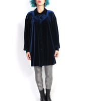 90s Navy Blue Velvet Shirt Button Down Collared Stretch Velvet Shirt Goth Grunge Slouchy Oversize Fit Long Sleeve Plus Size Blouse (L/XL)