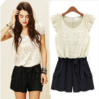 #3255 Loveliness Black and white lace dress pants