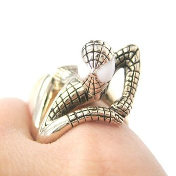 Realistic Spiderman Wrapped Around Your Finger Ring in Shiny Gold | US Size 8 and 9 | redditgifts