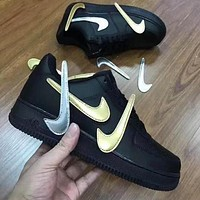 NIKE Air force 1 change the hook magic buckle and give away multiple logo hooks black gold