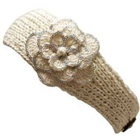 Amazon.com: Ivory Crocheted Headband With Sequin Flower Detail: Clothing