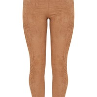 Taupe Faux Suede Skinny Trousers