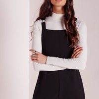 Missguided - Dungaree Style Playsuit Black