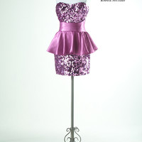 SALE! Flirt by Maggie Sottero 2012 Prom Dresses - Orchid Sequin & Satin Strapless Ruffle Homecoming Dress