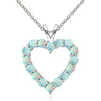 Sterling Silver Created Opal Open Heart Necklace