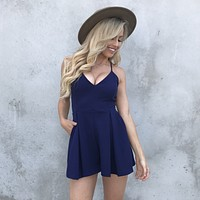 Gift Giving Lace Romper In Navy Blue