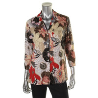 Alfred Dunner Womens Textured Printed Button-Down Top