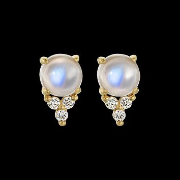 14kt Rainbow Moonstone and Diamond Mia Studs
