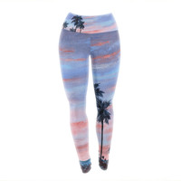 "Rosie Brown ""Florida Sunset"" Pink Blue Yoga Leggings"