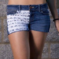 Lace Shorts- upcycled denim shorts with lace front and back detail