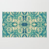 Vintage Blue Turquoise Floral Damask Pattern Rug by Girly Road