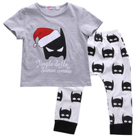 2016 Baby Boy Clothes Batman Set  Baby Boy Girls Christmas Outfits Tops+Batman Pants 2pcs Clothes Set