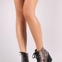 Qupid Patent Chunky Heeled Combat Lace-Up Ankle Boots