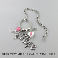 """Breast Cancer Awareness Hope Hanging Car Charm - Rear View Mirror Reminder To Be """"Hopeful"""" - Gift Ideas Breast Cancer Awareness - Christian"""