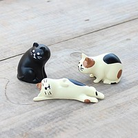 Japan Zakka Decole Cat Miniature figurines Animal statue Home Decoration Mini Fairy Garden Resin craft toy gift Bonsai Ornaments