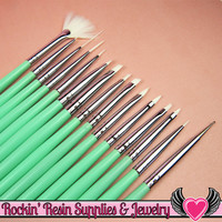 15 pcs NAIL ArT BRUSHES Seafoam Green / Dotting Painting Liners Drawing and Fan Brushes