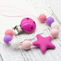 Baby Silicone Teether,Pacifier Clip Holder,Pacifier Clip, Chewable Beads,BPA Free Silicone Teether,Safe,Baby Shower Gift,Cookie