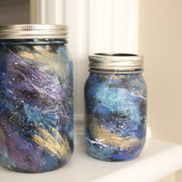 Space Mason Jars, Galaxy Mason Jars, Painted Mason Jars, Space Party, Galaxy Party, Teacher's Gift,Paint Party, Boy's Decor, Office supplies