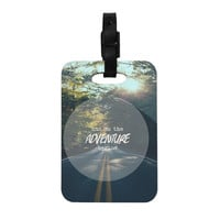 """Ann Barnes """"The Adventure Begins"""" Typography Nature Decorative Luggage Tag"""