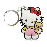 1pcs Hello Kitty Cartoon Figure Key Chain PVC Anime Key Ring Kid Toy Pendant Gift Trinket Keychain Holder Party Favors Jewelry