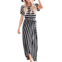 Irregular Short Sleeve Striped Dress