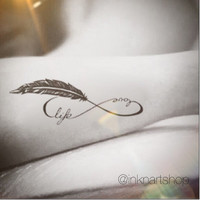 2pcs Love life feather infinity loop silhouette tattoo - InknArt Temporary Tattoo - wrist tattoo body sticker fake tattoo quote