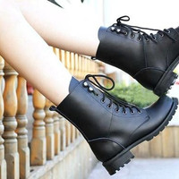 Fashion Spring Boots Ladies Woman Motorcycle Boots Vintage Combat Army Punk Goth Ankle Shoes Women Biker Flat PU Leather Short Boots 7936_38