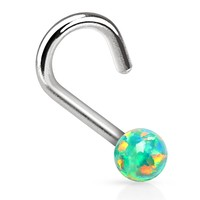 Nose Ring Screw Stud Green Rainbow Opal Stone Surgical Steel 20G Body Piercing Jewelry