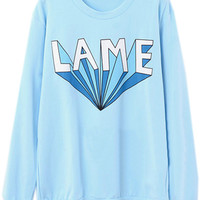 ROMWE   LAME Printed Blue Pullover, The Latest Street Fashion