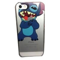 iPhone 5G 5 5S Lovely Disney Cartoon Lilo and Stitch Eating/ Grabbing Apple logo Cute Clear Case Cover for Iphone 5 and 5s Xmas Gift (Stitch04 for 5/5S)