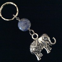 Elephant Key Chain with Blue Stone Handmade Protection Keychain Key Ring Meaningful Inspirational Trendy