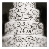 Elegant Wedding Cake in Black and White Personalized Announcement from Zazzle.com