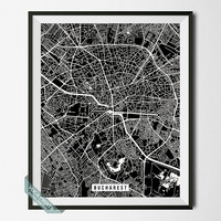 Bucharest Street Map, Romania Poster, Bucharest Print, Romania Print, Street Map, Home Decor, Map Print, Wall Print, Back To School