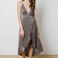 Giselle Silk Wrap-Front Dress-FINAL SALE