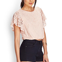 FOREVER 21 Crochet Lace Crop Top Blush