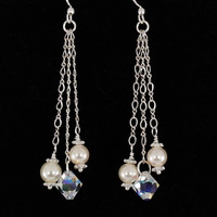 Bridal Wedding Jewelry, Long Chain Earrings with Swarovski Crystals and Pearls, Vidia Collection