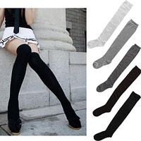 Hot Newly Fashion Sexy Cotton Over The Knee Socks Thigh High Stocking Thinner Black Grey White Drop Shipping