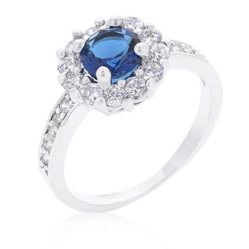 Sapphire Blue Halo Engagement Ring, size : 09